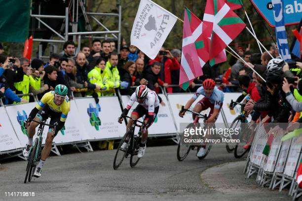 Arrival / Maximilian Schachmann of Germany and Team Bora - Hansgrohe Yellow Leader Jersey / Diego Ulissi of Italy and UAE Team Emirates / Enrico...