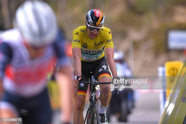 Arrival / Maximilian Schachmann of Germany and Team Bora Hansgrohe Yellow Leader Jersey / during the 78th Paris Nice 2020 Stage 7 a 1665km stage from...