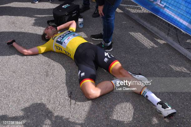 Arrival / Maximilian Schachmann of Germany and Team Bora - Hansgrohe Yellow Leader Jersey / Celebration / during the 78th Paris - Nice 2020 - Stage 7...