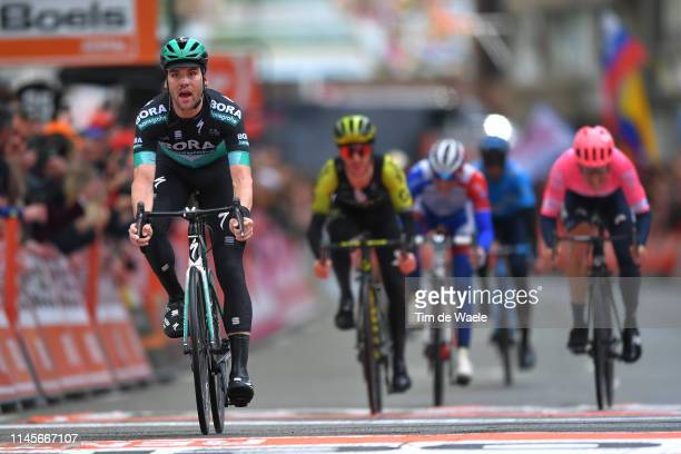 Arrival / Maximilian Schachmann of Germany and Team BoraHansgrohe / during the 105th Liege Bastogne Liege 2019 a 256km race from Liege to Liege /...