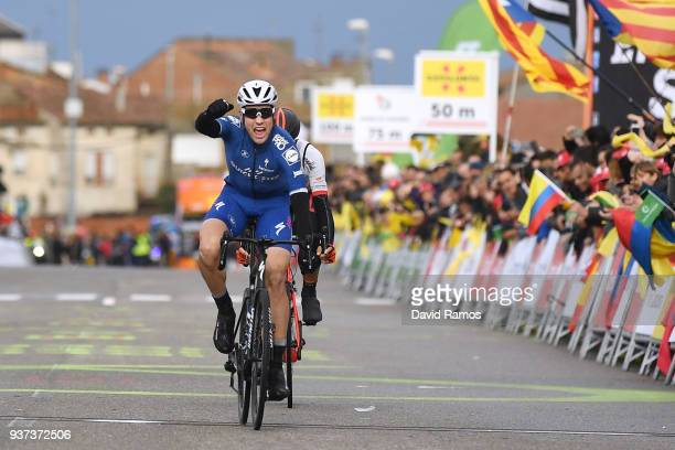 Arrival / Maximilian Schachmann of Germany and Team Quick-Step Floors / Celebration / Public / Fans / during the 98th Volta Ciclista a Catalunya...