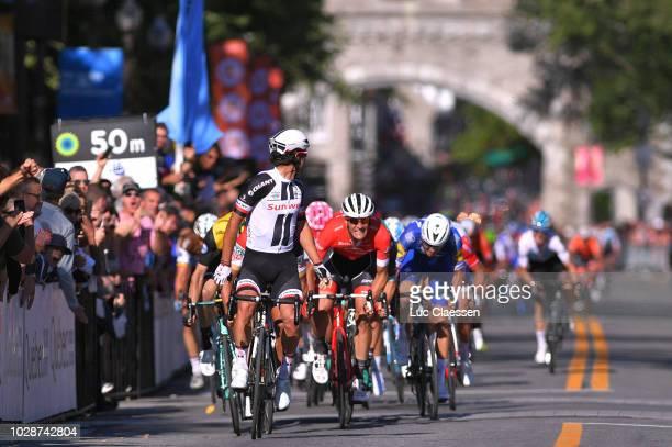 Arrival / Michael Matthews of Australia and Team Sunweb / Celebration / Greg Van Avermaet of Belgium and BMC Racing Team / Jasper Stuyven of Belgium...