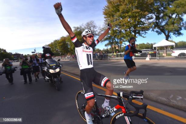 Arrival / Michael Matthews of Australia and Team Sunweb / Celebration / during the 9th Grand Prix Cycliste de Montreal 2018 a 1952km race from...
