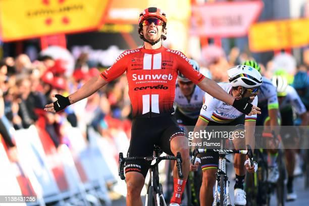 Arrival / Michael Matthews of Australia and Team Sunweb / Celebration / Alejandro Valverde Belmonte of Spain and Movistar Team / Daryl Impey of South...