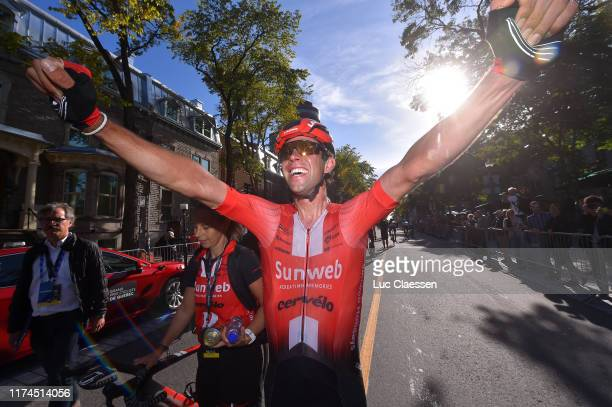 Arrival / Michael Matthews of Australia and Team Sunweb / Celebration / during the 10th Grand Prix Cycliste de Quebec 2019 a 2016km stage from Québec...