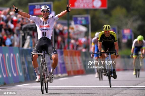 Arrival / Michael Matthews of Australia and Team Sunweb / Celebration / Luka Mezgec of Slovenia and Team Mitchelton - Scott / Florian Senechal of...