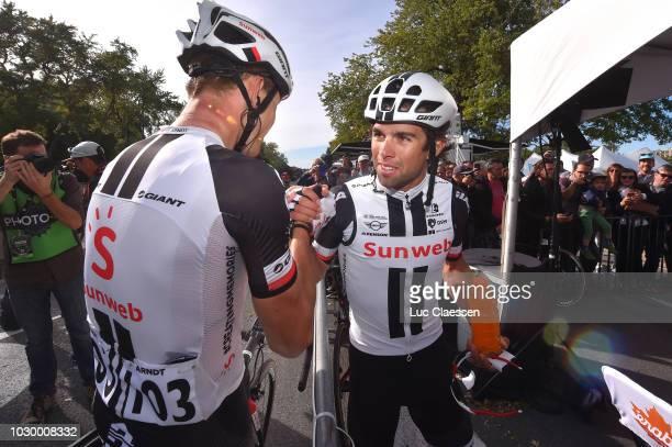 Arrival / Michael Matthews of Australia and Team Sunweb / Nikias Arndt of Germany and Team Sunweb / Celebration / during the 9th Grand Prix Cycliste...