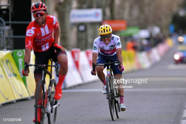 Arrival / Michael Matthews of Australia and Team Sunweb / Sergio Andres Higuita of Colombia and Team Ef Education First White Best Young Jersey /...