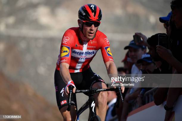 Arrival / Michael Morkov of Denmark and Team Deceuninck - Quick - Step / during the 6th UAE Tour 2020, Stage 2 a 168km stage from Hatta to Hatta Dam...