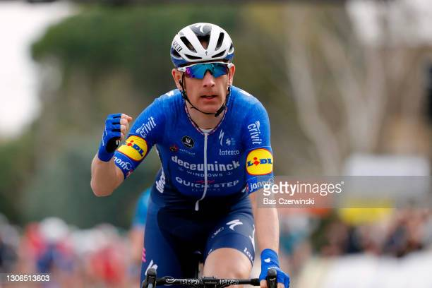 Arrival / Michael Morkov of Denmark and Team Deceuninck - Quick-Step Celebration, during the 79th Paris - Nice 2021, Stage 5 a 200km stage from...
