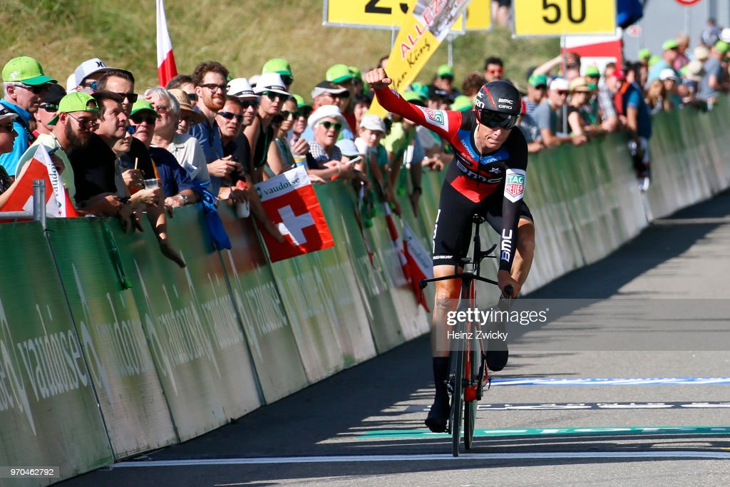 Arrival / Michael Schar of Switzerland / Greg Van Avermaet of Belgium / BMC Racing Team of The United States / Celebration / Public / Fans / during the 82nd Tour of Switzerland 2018, Stage 1 a 18,3km Team time trial stage from Frauenfeld to Frauenfeld on June 9, 2018 in Frauenfeld, Switzerland.