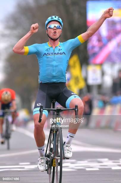 Arrival / Michael Valgren Andersen of Denmark and Astana Pro Team / Celebration / Roman Kreuziger of Czech Republic and Team Mitchelton-Scott /...