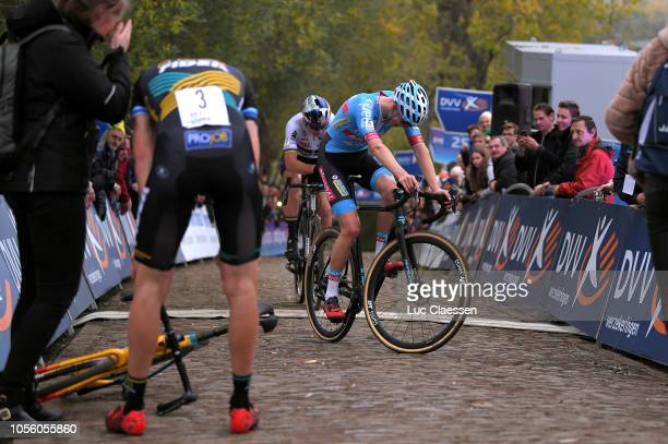 Arrival / Michael Vanthourenhout of Belgium and Marlux Bingoal Cycling Team / Wout Van Aert of Belgium and Team CibelCebon / during the 29th...