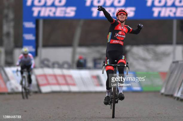 Arrival / Michael Vanthourenhout of Belgium and Team Pauwels Sauzen - Bingoal / Celebration / during the 24th Tabor World Cup 2020 - Men Elite /...