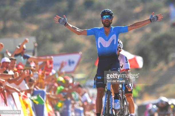 Arrival / Michal Kwiatkowski of Poland and Team Sky / Alejandro Valverde of Spain and Movistar Team Celebration / during the 73rd Tour of Spain 2018,...