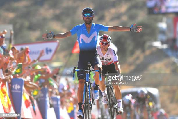 Arrival / Michal Kwiatkowski of Poland and Team Sky / Alejandro Valverde of Spain and Movistar Team Celebration / during the 73rd Tour of Spain 2018...