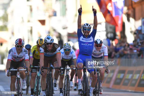 Arrival / Michal Kwiatkowski of Poland and Team Sky / Wout Van Aert of Belgium and Team JumboVisma / Oliver Naesen of Belgium and Team AG2R La...