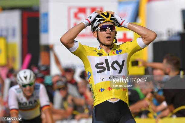 Arrival / Michal Kwiatkowski of Poland and Team Sky Yellow Leader Jersey / Celebration / during the 75th Tour of Poland 2018, Stage 5 a 152,2km stage...