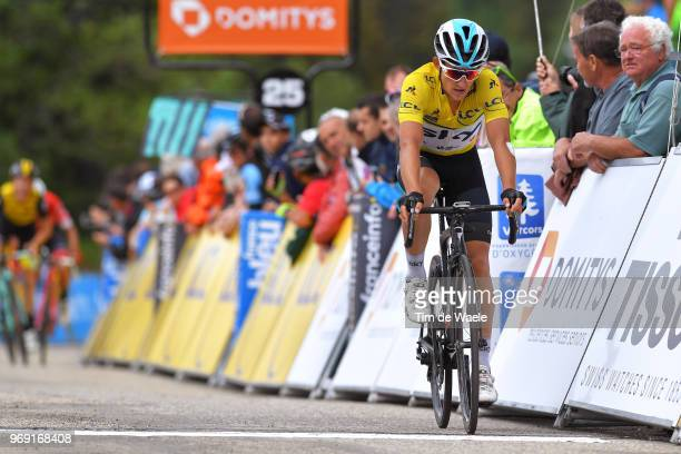 Arrival / Michal Kwiatkowski of Poland and Team Sky Yellow Leader Jersey / Celebration / during the 70th Criterium du Dauphine 2018, Stage 4 a 181km...