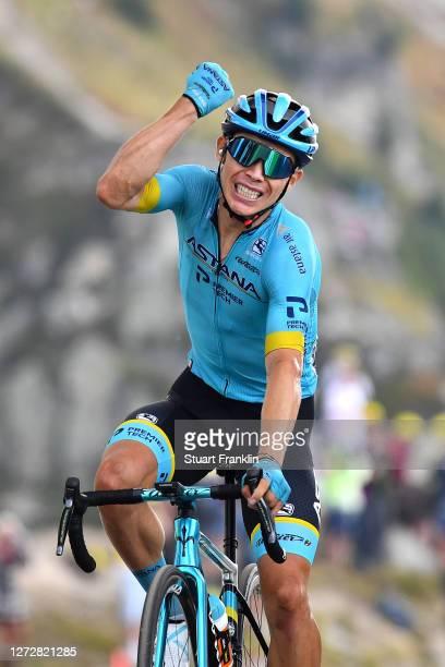 Arrival / Miguel Angel Lopez Moreno of Colombia and Astana Pro Team / Celebration / Col de la Loze / Public / Fans / during the 107th Tour de France...
