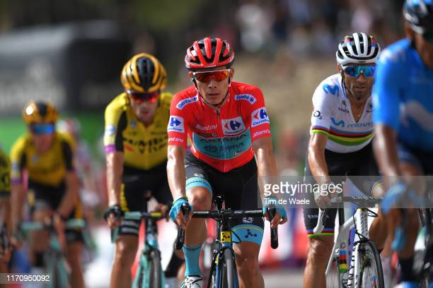 Arrival / Miguel Angel Lopez of Colombia and Astana Pro Team Red Leader Jersey / Alejandro Valverde Belmonte of Spain and Movistar Team / during the...