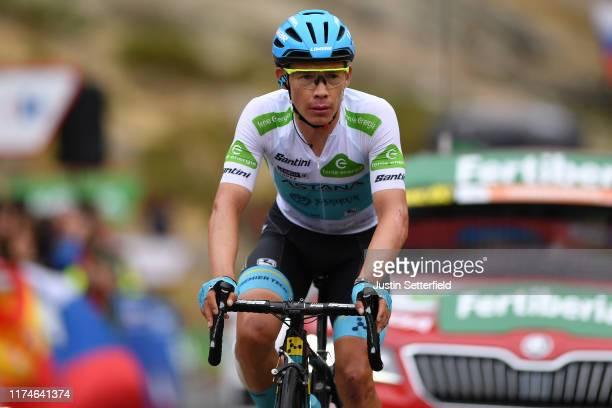 Arrival / Miguel Angel Lopez of Colombia and Astana Pro Team White Best Young Rider Jersey / during the 74th Tour of Spain 2019 Stage 20 a 1904km...