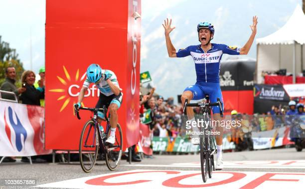 Arrival / Miguel Angel Lopez of Colombia and Astana Pro Team White Combined Jersey Disappointment / Enric Mas of Spain and Team Quick-Step Floors...