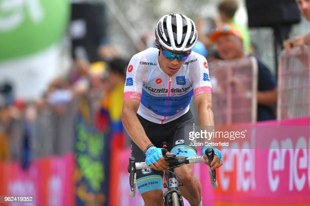 Arrival / Miguel Angel Lopez of Colombia and Astana Pro Team White Young Jersey / during the 101st Tour of Italy 2018 Stage 19 a 185km stage from...