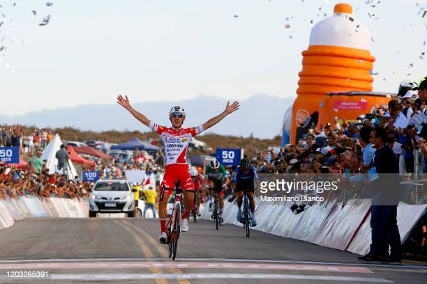 Arrival / Miguel Florez of Colombia and Team Androni Giocattoli - Sidermec / Celebration / Oscar M. Sevilla of Spain and Team Medellin / Brandon...