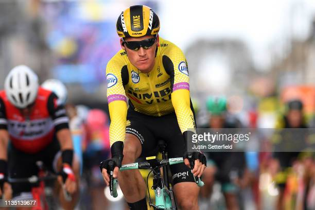 Arrival / Mike Teunissen of Netherlands and Team Jumbo - Visma / during the 77th Paris - Nice 2019, Stage 2 a 163,5km race from Les Bréviaires to...