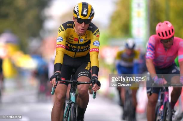 Arrival / Mike Teunissen of The Netherlands and Team Jumbo - Visma / during the 16th BinckBank Tour 2020 - Stage 3 a 157km stage from Aalter to...