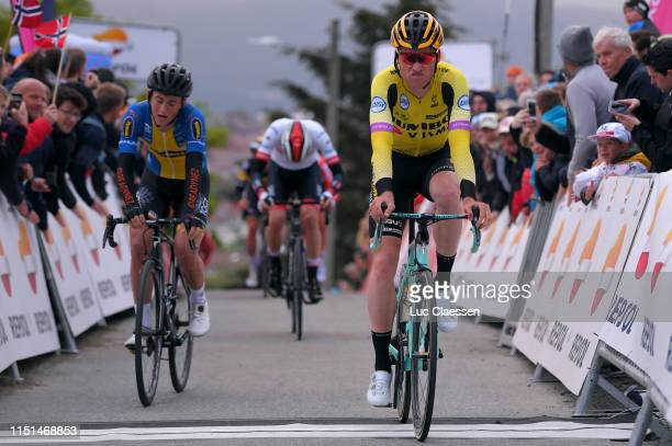Arrival / Mike Teunissen of The Netherlands and Team Jumbo - Visma / Lucas Eriksson of Sweden and Riwal Readynez Cycling Team / Sven Erik Bystrom of...