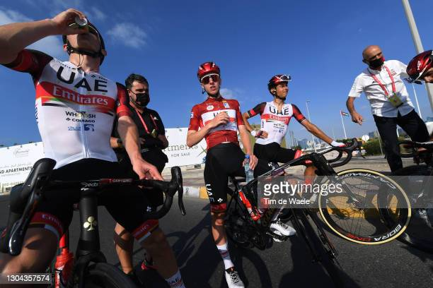 Arrival / Mikkel Bjerg of Denmark, Tadej Pogacar of Slovenia Red Leader Jersey, Davide Formolo of Italy and UAE Team Emirates & Mauro Gianetti of...