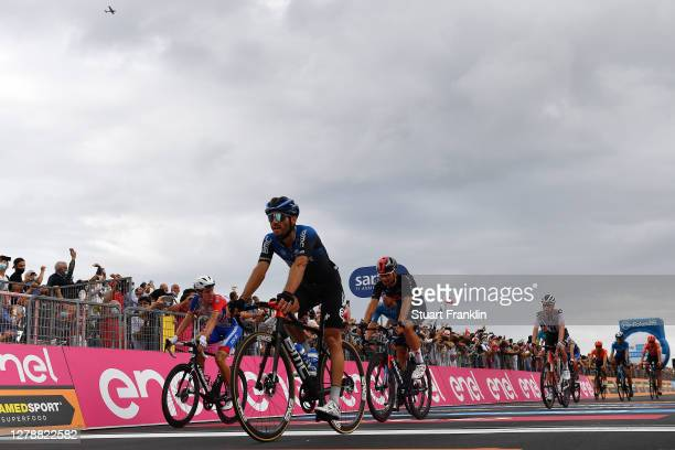 Arrival / Miles Scotson of Australia and Team Groupama - FDJ / Danilo Wyss of Switzerland and NTT Pro Cycling Team / Filippo Ganna of Italy and Team...
