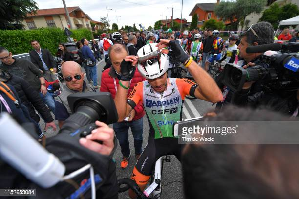 Arrival / Mirco Maestri of Italy and Team Bardiani CSF / Press / Media / during the 102nd Giro d'Italia 2019 Stage 18 a 222km stage from Valdaora to...