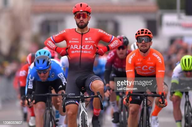 Arrival / Nacer Bouhanni of France and Team Arkéa Samsic Celebration / Jakub Mareczko of Italy and CCC Team / Giacomo Nizzolo of Italy and Team NTT...