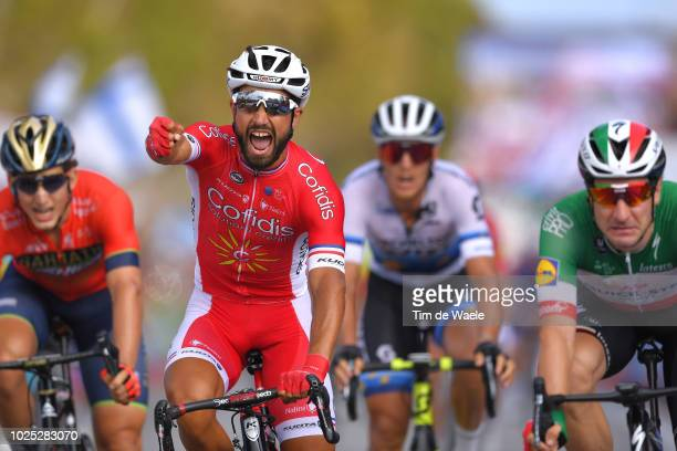 Arrival / Nacer Bouhanni of France and Team Cofidis / Celebration / Elia Viviani of Italy and Team Quick-Step Floors / during the 73rd Tour of Spain...