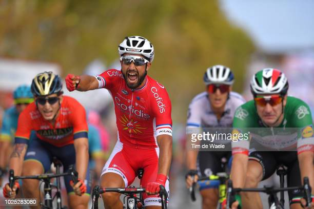 Arrival / Nacer Bouhanni of France and Team Cofidis / Celebration / Elia Viviani of Italy and Team QuickStep Floors / during the 73rd Tour of Spain...
