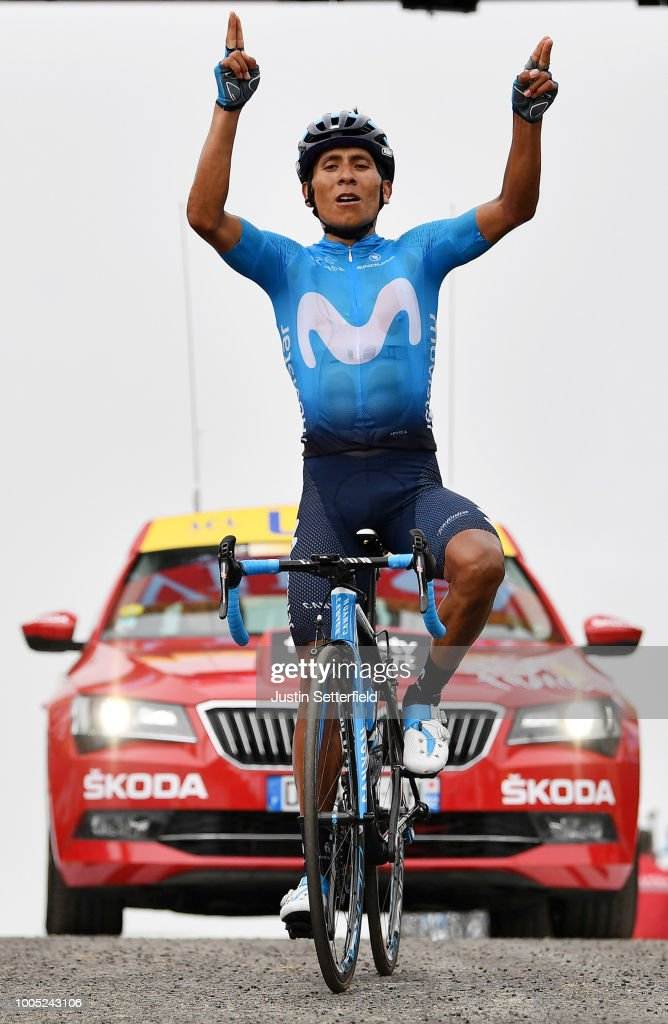 Arrival / Nairo Quintana of Colombia and Movistar Team / Celebration / during the 105th Tour de France 2018, Stage 17, a 67km stage from Bagneres-de-Luchon to Saint-Lary-Soulan - Col du Portet 2215m / TDF / on July 25, 2018 in Saint-Lary-Soulan - Col du Portet, France.