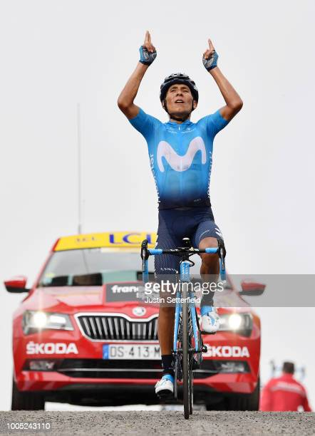 Arrival / Nairo Quintana of Colombia and Movistar Team / Celebration / during the 105th Tour de France 2018, Stage 17, a 67km stage from...