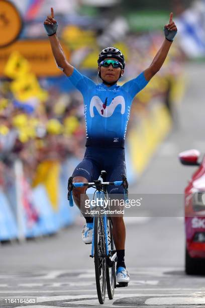 Arrival / Nairo Quintana of Colombia and Movistar Team / Celebration / during the 106th Tour de France 2019, Stage 18 a 208km stage from Embrun to...