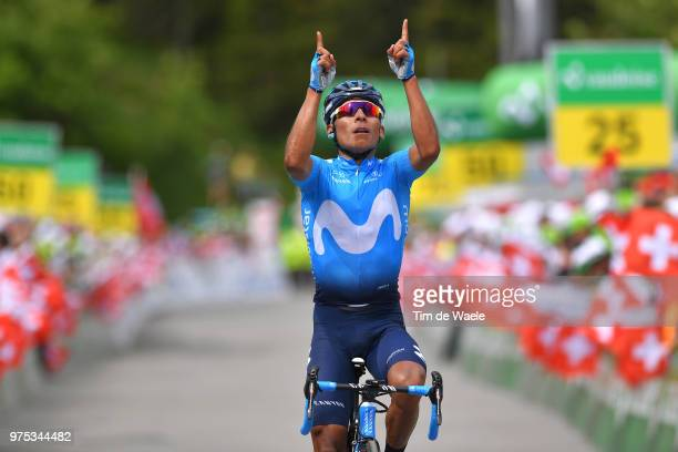 Arrival / Nairo Quintana of Colombia and Movistar Team / Celebration / during the 82nd Tour of Switzerland 2018, Stage 7 a 170,5km stage from...