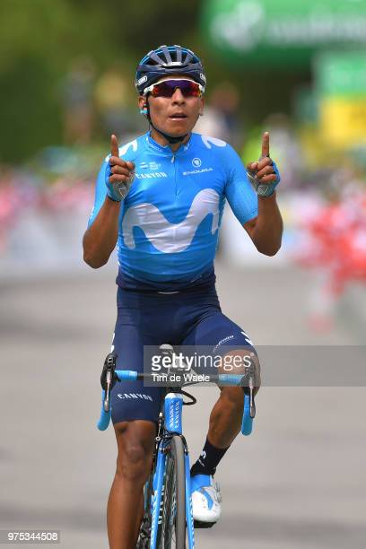 Arrival / Nairo Quintana of Colombia and Movistar Team / Celebration / during the 82nd Tour of Switzerland 2018 Stage 7 a 1705km stage from...