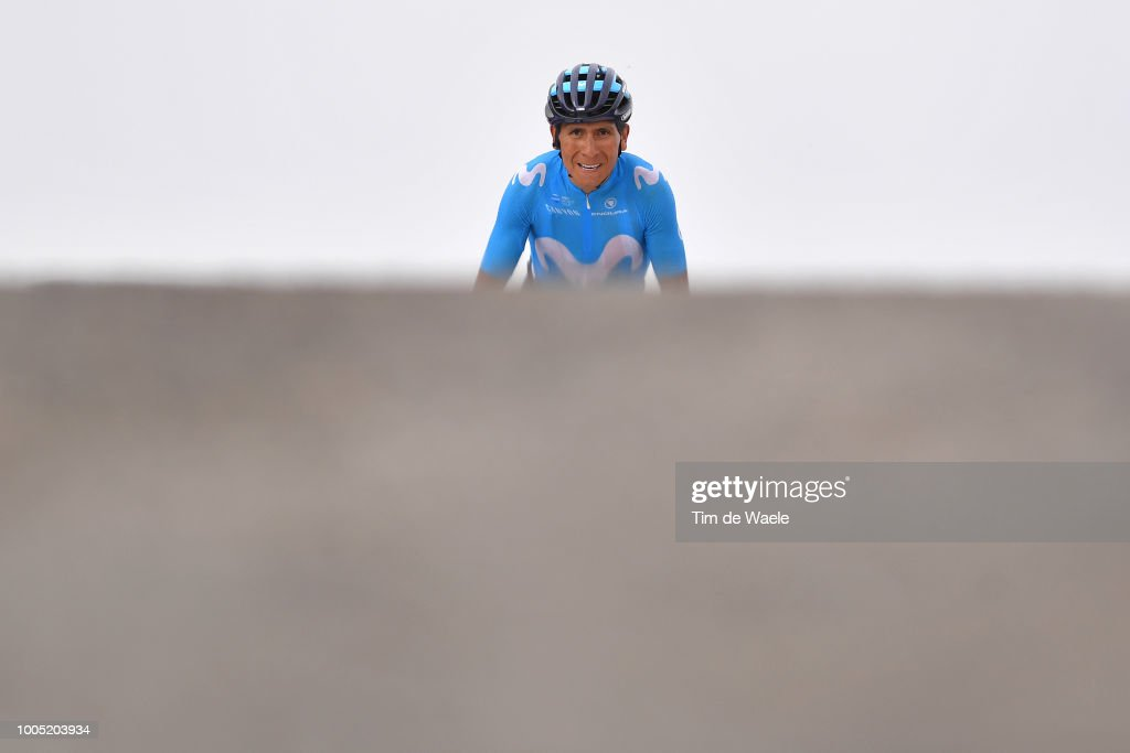 Arrival / Nairo Quintana of Colombia and Movistar Team during the 105th Tour de France 2018, Stage 17, a 67km stage from Bagneres-de-Luchon to Saint-Lary-Soulan - Col du Portet 2215m / TDF / on July 25, 2018 in Saint-Lary-Soulan - Col du Portet, France.