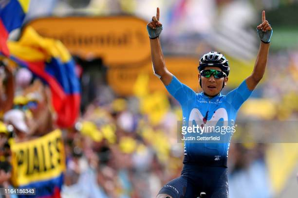 Arrival / Nairo Quintana of Colombia and Movistar Team / during the 106th Tour de France 2019, Stage 18 a 208km stage from Embrun to Valloire 1419m /...
