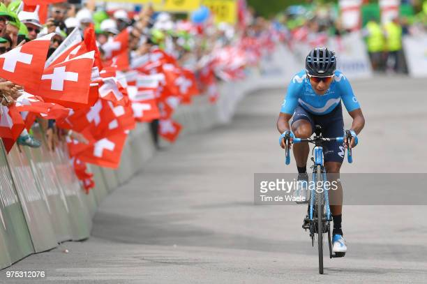 Arrival / Nairo Quintana of Colombia and Movistar Team / during the 82nd Tour of Switzerland 2018 Stage 7 a 1705km stage from Eschenbach to Atzmannig...
