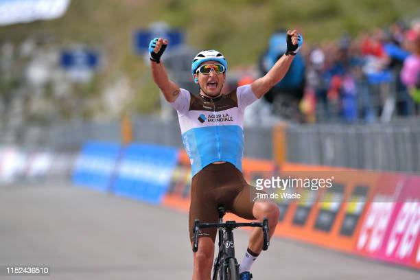 Arrival / Nans Peters of France and Team AG2R La Mondiale / Celebration / during the 102nd Giro d'Italia 2019 Stage 17 a 181km stage from...
