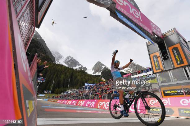 Arrival / Nans Peters of France and Team AG2R La Mondiale / Celebration / Public / Fans / Mountains / Snow / Landscape / during the 102nd Giro...
