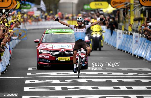 Arrival / Nans Peters of France and Team Ag2R La Mondiale / Celebration / during the 107th Tour de France 2020, Stage 8 a 141km stage from...