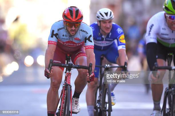 Arrival / Nathan Haas of Australia and Team KatushaAlpecin / during the 109th MilanSanremo 2018 a 291km race from Milan to Sanremo on March 17 2018...